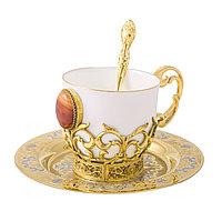 """Набор кофейный """"Сердолик"""" литье (тарель d140, чашка, ложка) - Купить в Казахстане"""