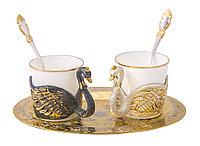 """Набор кофейный """"Лебеди"""" ( 2 чашечки, тарель, 2 ложечки ) - Купить в Казахстане"""