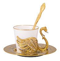 """Набор кофейный """"Лебеди"""" ( тарель, чашка, ложка ) - Купить в Казахстане"""