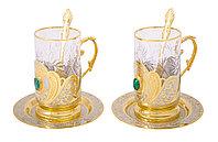 """Набор чайный """"Малахит"""" ( 2 тарели, 2 подстаканника, 2 ложки ) - Купить в Казахстане"""