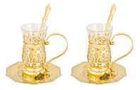 """Набор чайный """"Восточный"""" на 2 персоны ( 2 тарели, 2 стакана, 2 ложки) - Купить в Казахстане"""