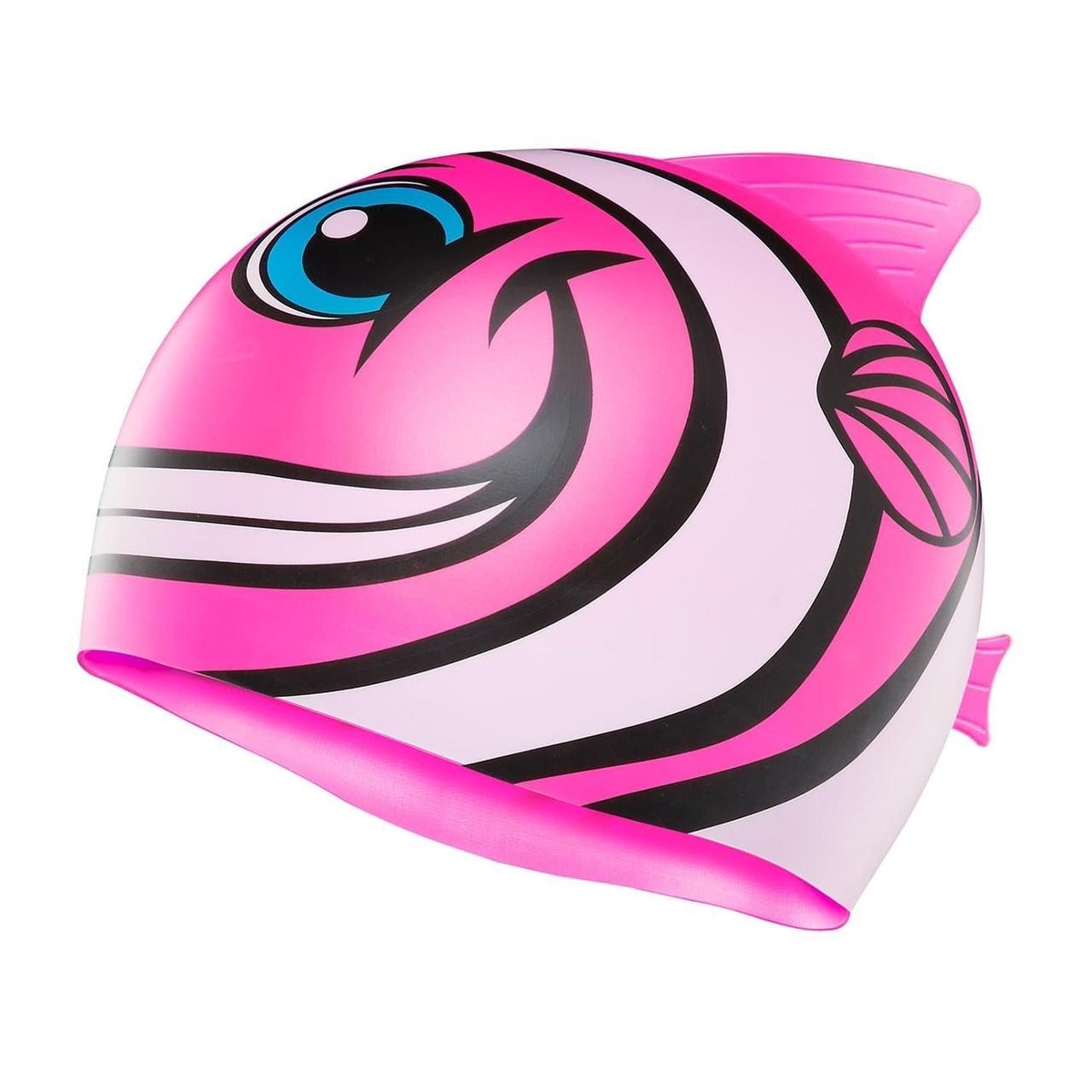 Детская шапочка для плавания TYR Charactyrs Happy Fish Cap 693 Розовый