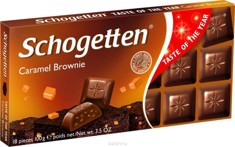 Молочный шоколад Schogetten Карамельное пирожноe Caramel Brownie 100гр (15 шт. в упаковке)