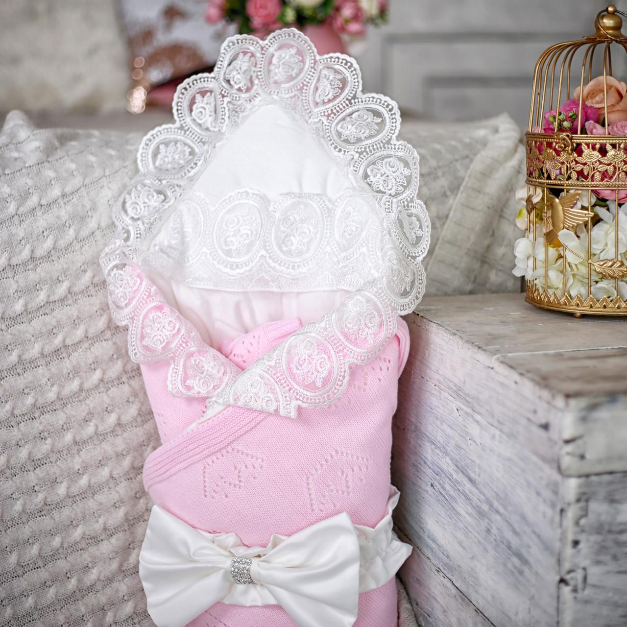 """Конверт-одеяло на выписку """"Корона"""" розовый"""