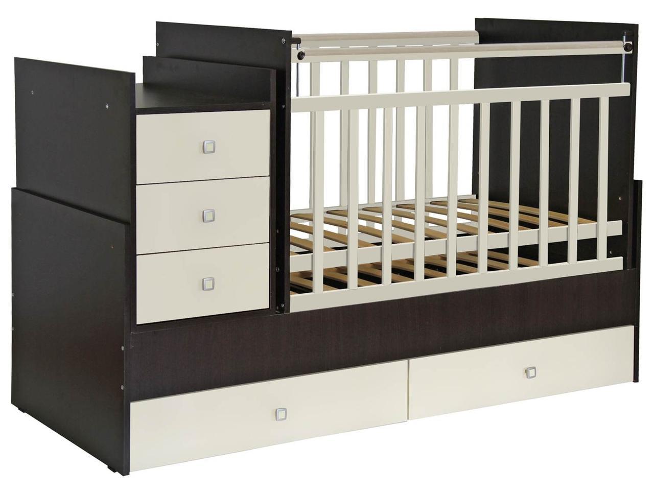 Кроватка - трансформер Фея 1200 венге/бежевый