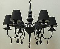 Люстра подвесная на 6 плафонов Черная матовая , фото 1