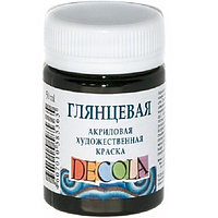Краска акриловая Decola 50мл черная глянцевая 2928810