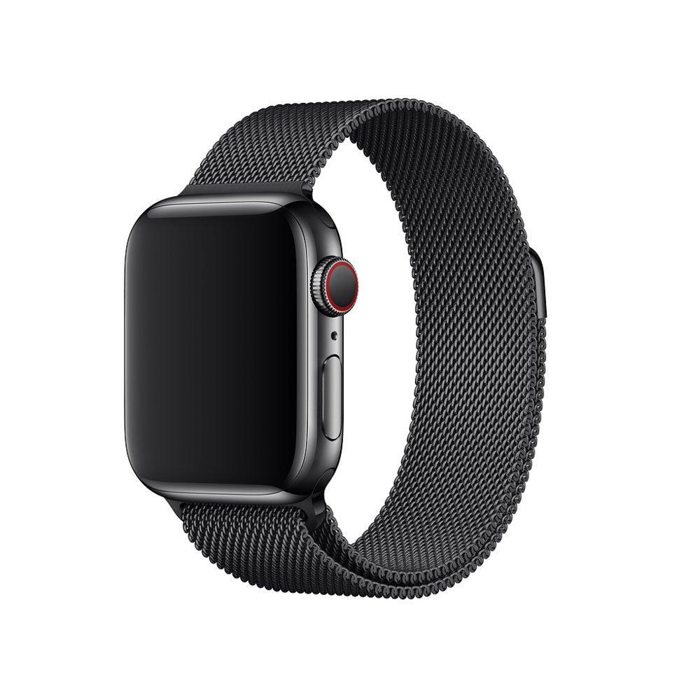 Браслет/ремешок для Apple Watch 44мм, миланский сетчатый, «чёрный космос» (MTU52ZM/A)