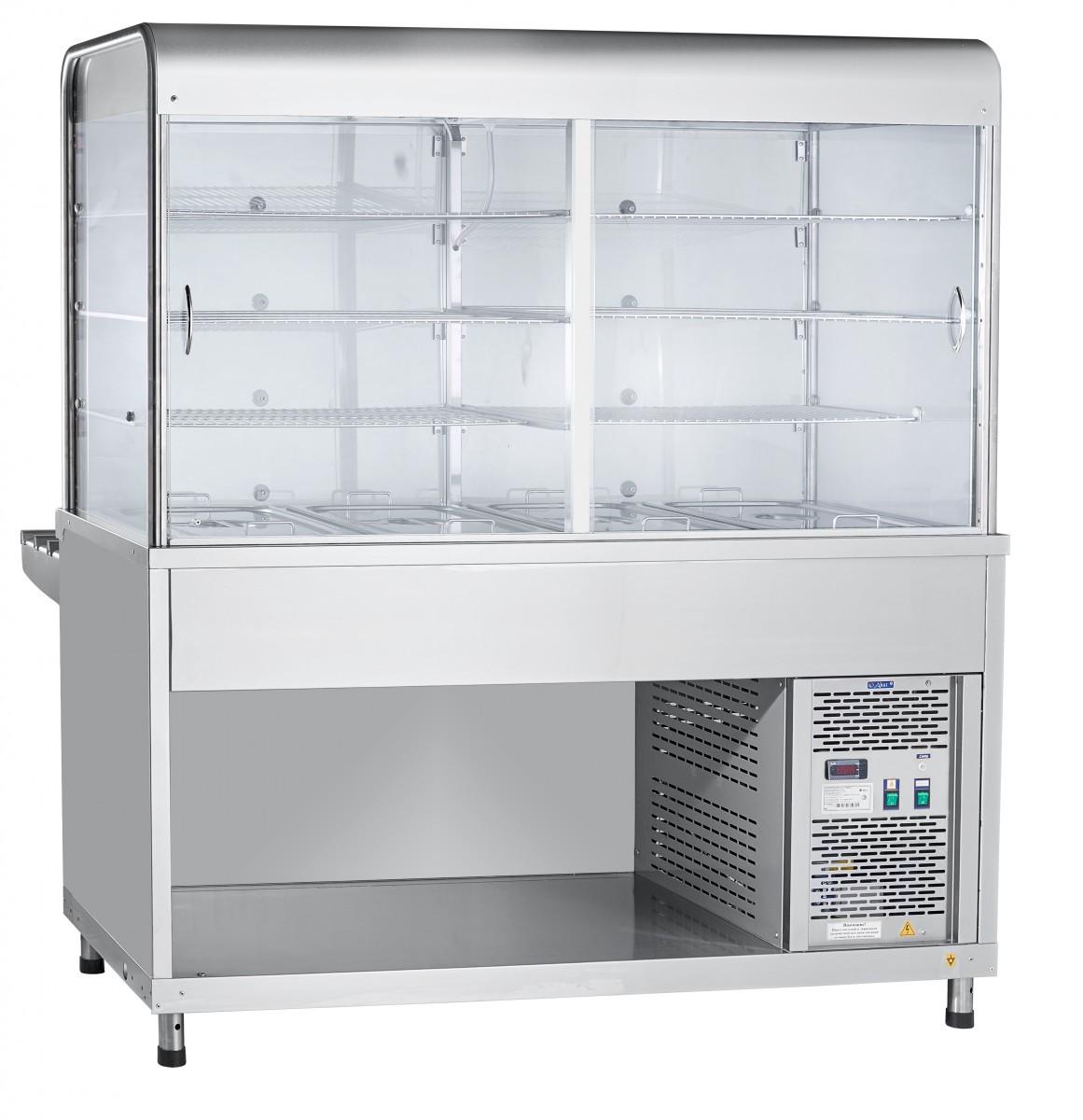 Прилавок-витрина холодильный ПВВ(Н)-70КМ-С-03-НШ вся нерж. с гастроемкостями (1500 мм)