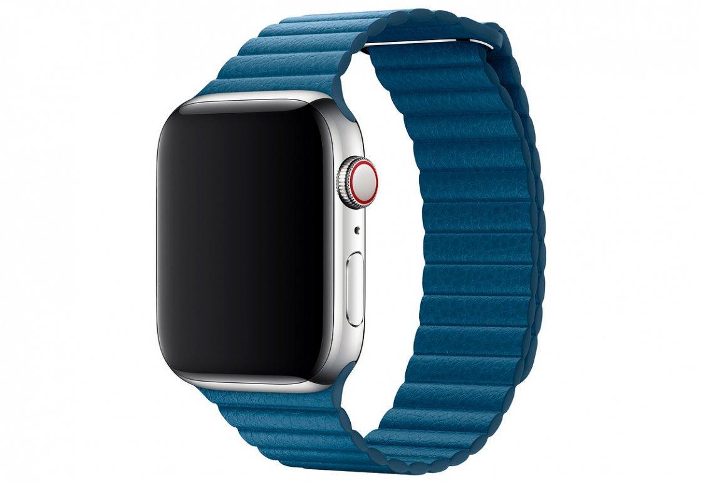 Оригинальный браслет/ремешок для Apple Watch 44мм, кожаный, размер M, «лазурная волна» (MTH92ZM/A)
