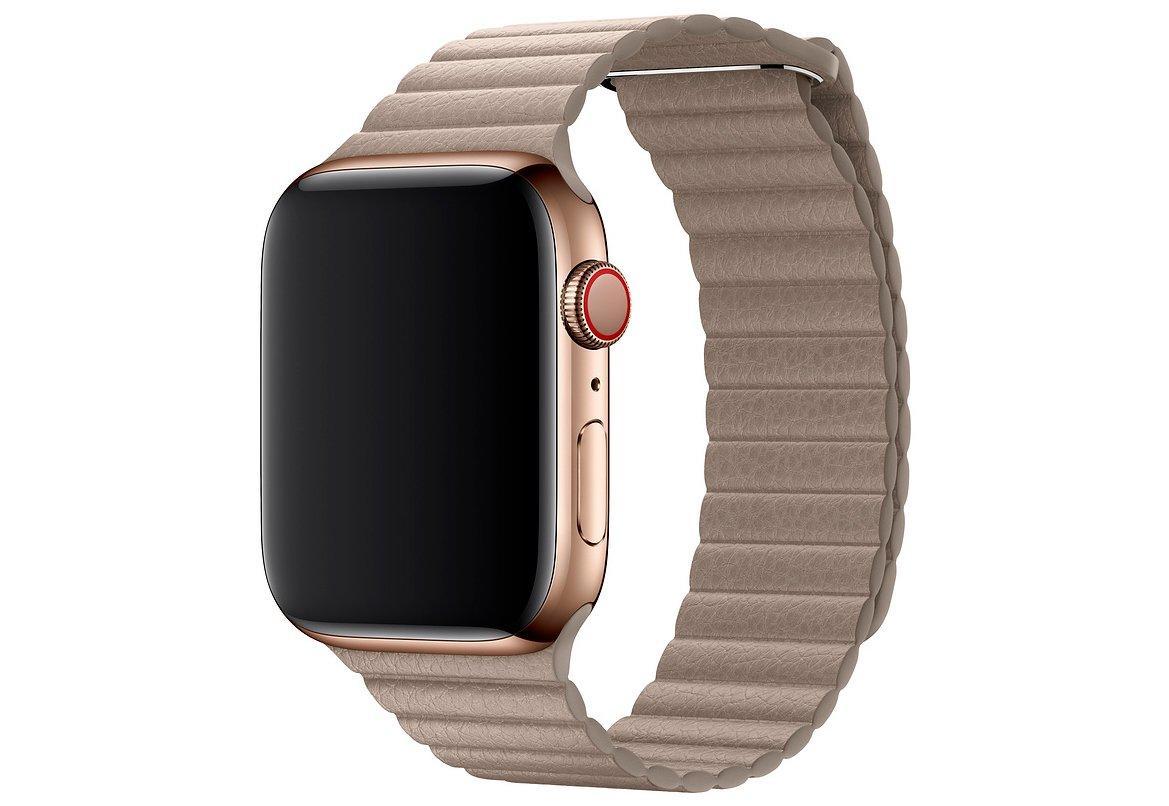 Браслет/ремешок для Apple Watch 44мм, кожаный, размер M, бежевый (MTHC2ZM/A)