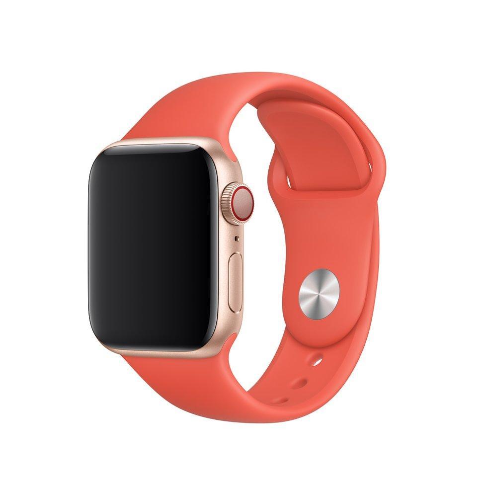 Оригинальный браслет для Apple Watch 44мм, размеры S/M и M/L, спортивный, «спелый нектарин» (MTPQ2ZM/A)