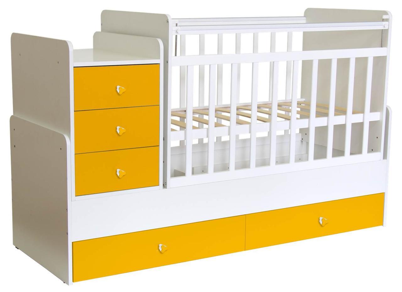Кроватка-трансформер Фея 1100 поперечный маятник Белый/Желтый