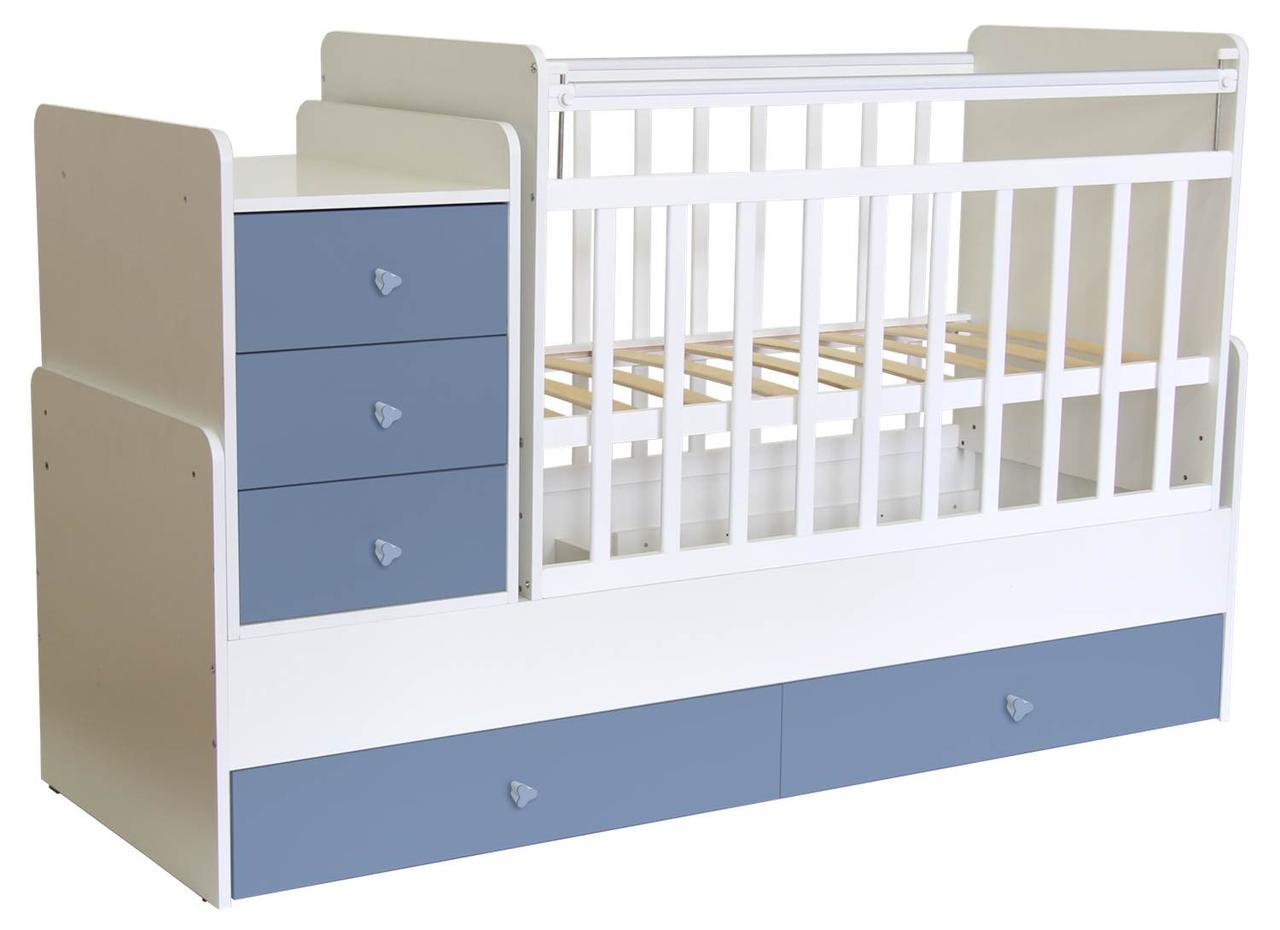 Кроватка-трансформер Фея 1100 поперечный маятник Белый/Синий
