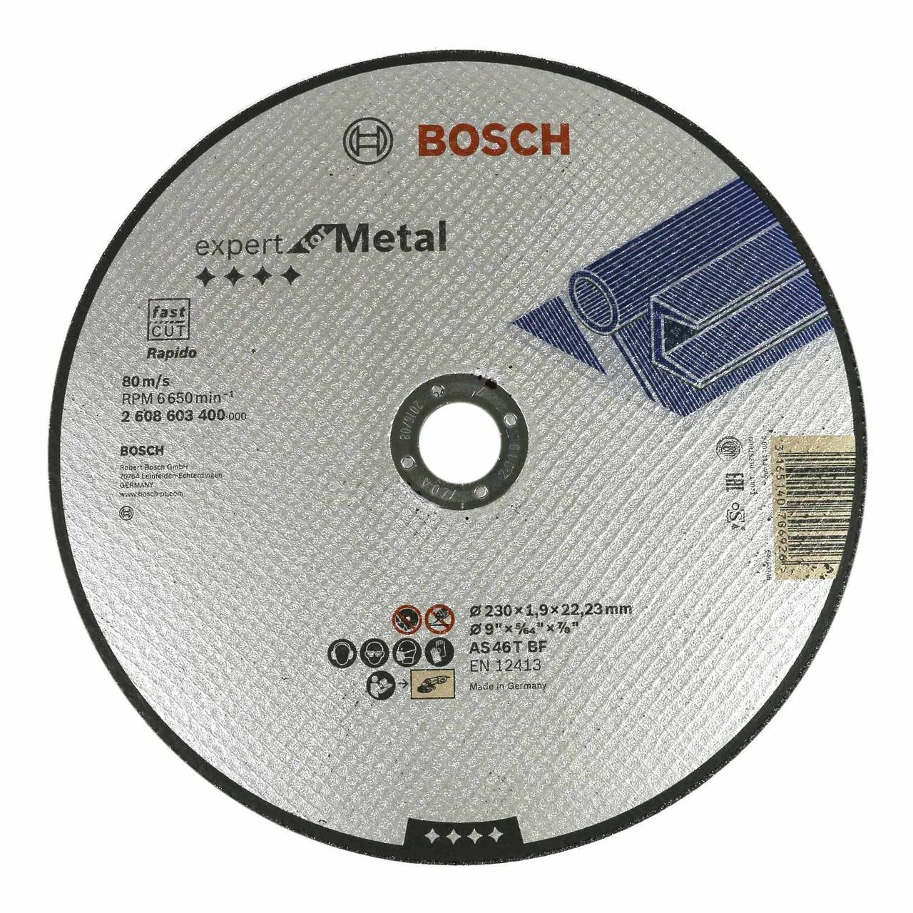 Круг отрезной по металлу BOSCH 230*1,9*22,23мм
