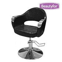 """Кресло парикмахерское """"356-1"""" с хром. подлокотниками, гидравлическое, черное"""