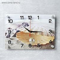 """Часы настенные, серия: Море, """"Ракушка с жемчужиной"""", 25х35 см, микс"""