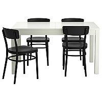 Стол и 4 стула БЬЮРСТА / ИДОЛЬФ белый, черныйт ИКЕА, IKEA, фото 1