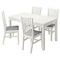 Стол и 4 стула БЬЮРСТА / НОРНЭС белый ИКЕА, IKEA, фото 1