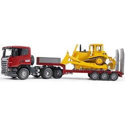 Bruder Игрушечный Тягач Scania с прицепом платформой и гусеничным бульдозером CAT (Брудер)