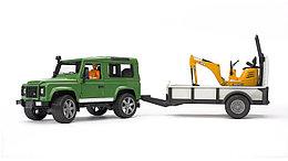 Bruder Игрушечный Внедорожник Land Rover Defender с прицепом и экскаватором JCB (Брудер)