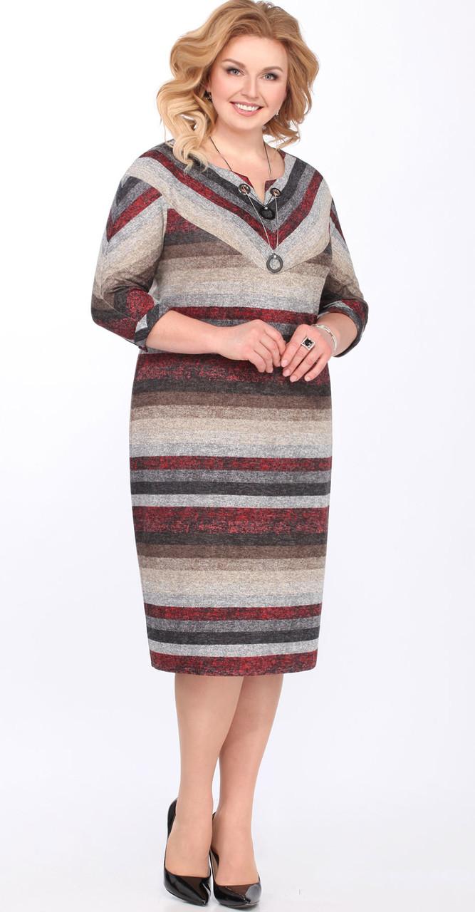 """Платье Matini-31163/1, серый-бордо """"полоска"""", 54"""