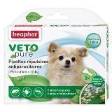 Beaphar VETO pure 3 пипетки Биокапли от блох, клещей и комаров для собак мелких пород до 15 кг