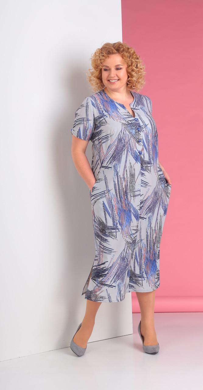 Платье Novella Sharm-3219-c, сине-серые тона, 66