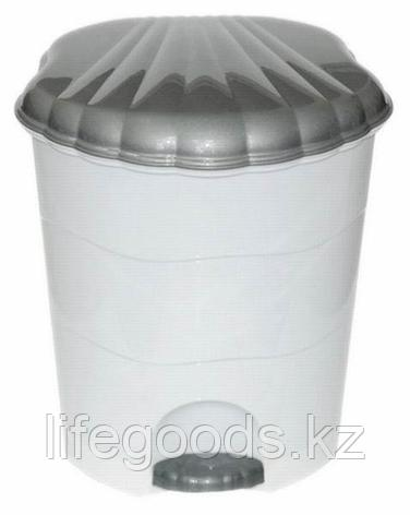 Ведро для мусора с педалью 7л. (бело/сер), фото 2