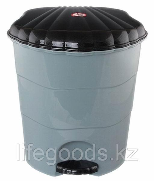 Ведро для мусора с педалью 7л. (серо/чёрн)