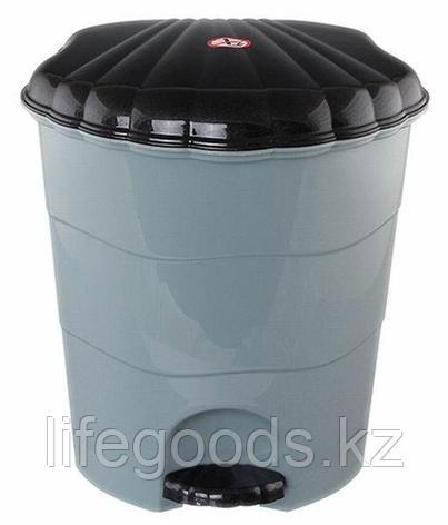 Ведро для мусора с педалью 7л. (серо/чёрн), фото 2