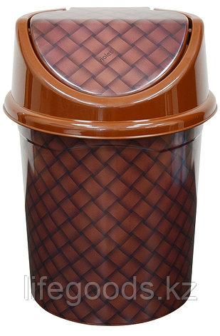 """Ведро для мусора с подвижной крышкой 4л. с декором """"Береста"""" темная, фото 2"""
