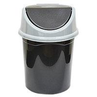 Ведро для мусора с подвижной крышкой 8л. (черно/сер)