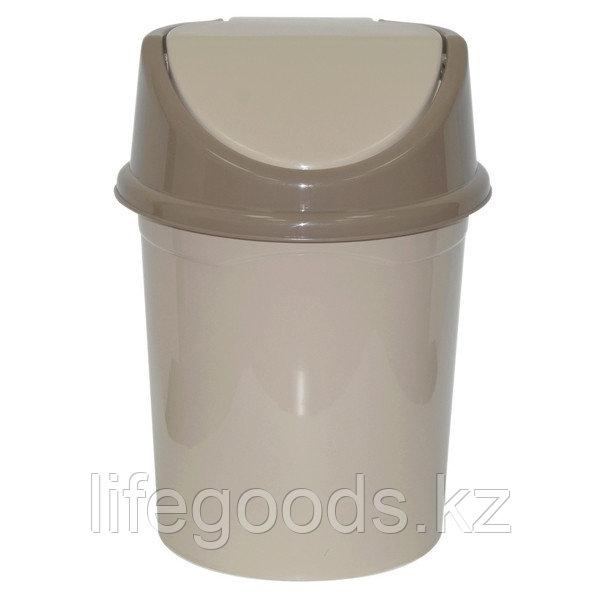 Ведро для мусора с подвижной крышкой без декора 8л. (латте)