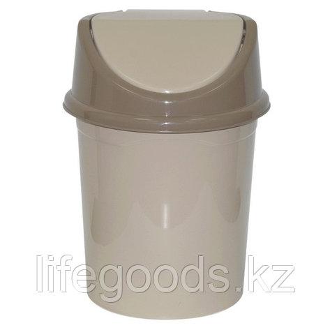 Ведро для мусора с подвижной крышкой без декора 8л. (латте), фото 2
