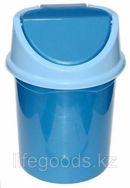 Ведро для мусора с подвижной крышкой 8л. (сине/гол)