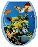 """Сиденье - крышка для унитаза с декором """"Кораллы"""" 111002"""