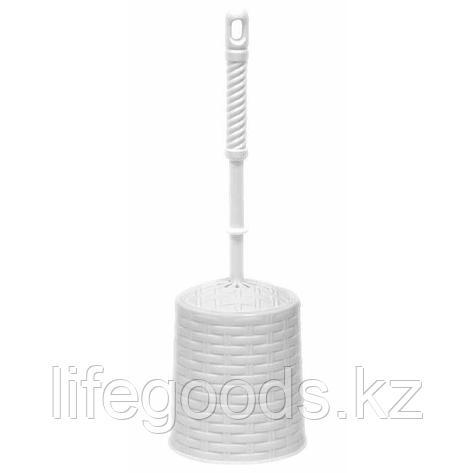"""Набор для WC (ёрш+подставка) круглый """"Ротанг"""" (белый), фото 2"""