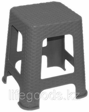 """Табурет малый пластмассовый """"Ротанг"""" h33см. (серый), фото 2"""