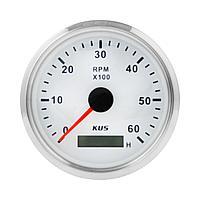 Тахометр 0-6000 об/мин со счетчиком моточасов делитель 0.5-250, белый циферблат, нержавеющий ободок