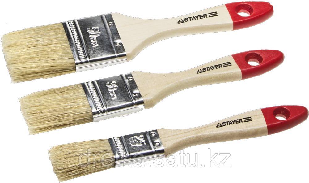 """Набор STAYER """"STANDARD"""" """"UNIVERSAL"""": Кисти, светлая натуральная щетина, деревянная ручка, 3шт: 25, 38, 50мм"""