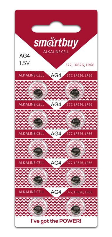 Батарейка часовая Smartbuy AG4 (LR66, SR626W, R66, G4, GP77A, LR626, 177, 377) 10 шт в уп.