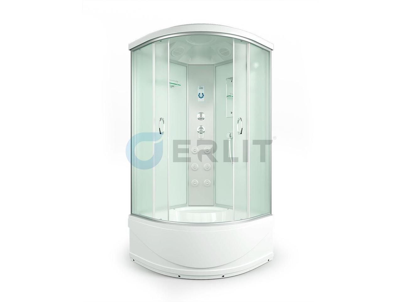 Душевая кабина Erlit ER4510TP -C3 Кабина 100 х 100 см.  Высокий поддон, светлое стекло.