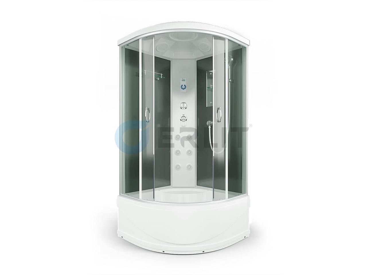 Душевая кабина Erlit ER4510TP -C4 Кабина 100 х 100 см.  Высокий поддон, тонированное стекло.