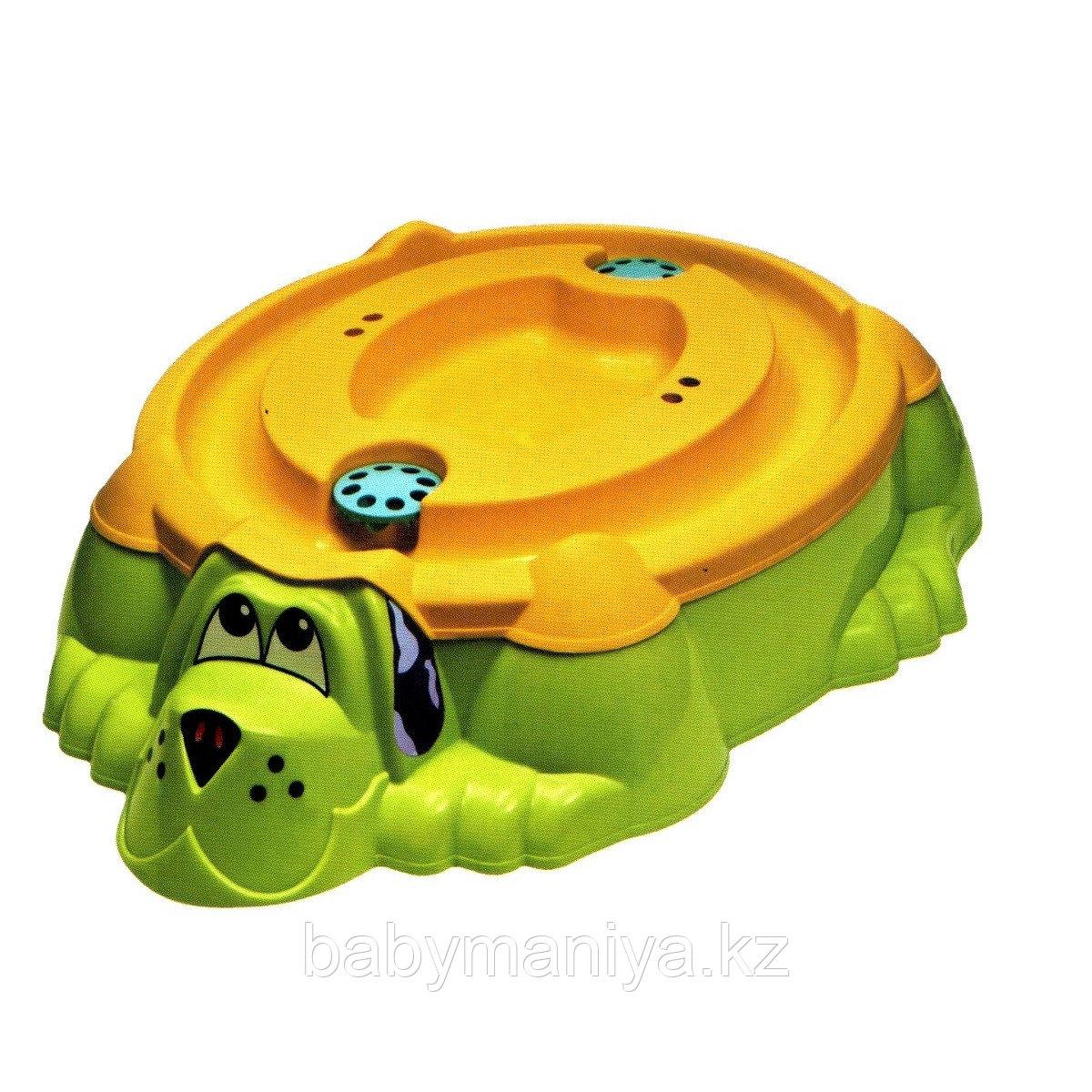 """Песочница - бассейн """"Собачка с крышкой"""" Marian Plast Оранжевый/зеленый"""