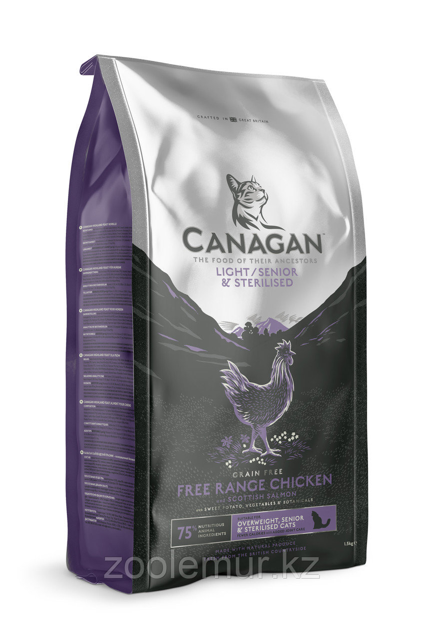 CANAGAN Grain Free Light/Senior/Sterilised корм 375г для пожилых, стерилизованных и кошек с избыточной массой