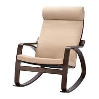ПОЭНГ Кресло-качалка, коричневый, Шифтебу бежевый, фото 1