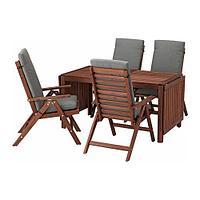 ЭПЛАРО Стол+4 кресла, д/сада, коричневая морилка, ФРЁСЁН/ДУВХОЛЬМЕН темно-серый, фото 1