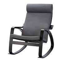 ПОЭНГ Кресло-качалка, черно-коричневый, Шифтебу темно-серый, фото 1