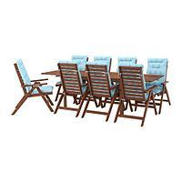 ЭПЛАРО Стол+8кресел,д/сада, коричневая морилка, Куддарна голубой, фото 1